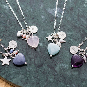 Maya Stone Heart Silver Necklace
