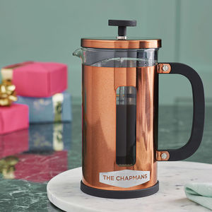 Personalised Geometric Copper Cafetiere - christmas catalogue