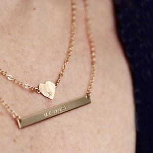 Personalised Heart And Skinny Bar Layering Necklace Set - necklaces & pendants