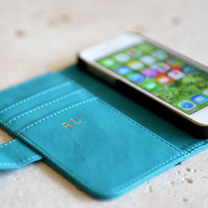 Turquoise iPhone Case Personalised In Gold