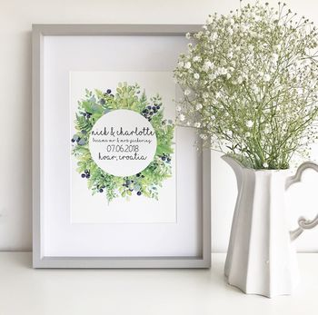 Personalised Wedding Foliage Print