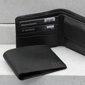 Luxury Italian Leather Personalised Billfold Wallet - mens