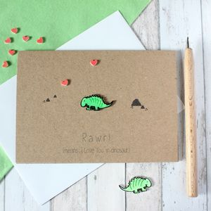 Valentine's Day Card, Rawr Means I Love You Dinosaur - cards & wrap