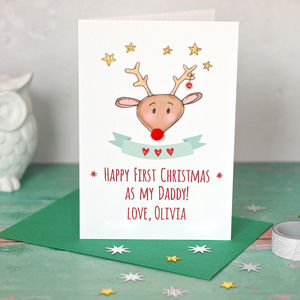 Reindeer First Christmas As My Daddy / Mummy Card