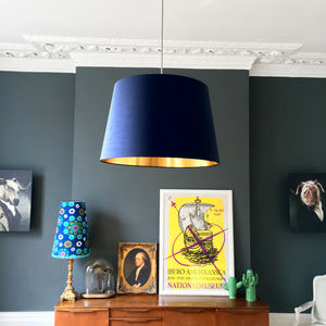 Midnight French Drum Shade With Copper Or Gold Lining - lampshades