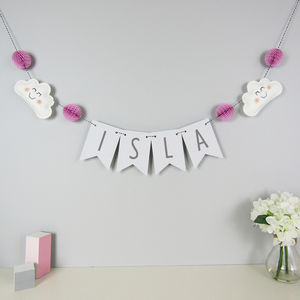 Personalised Cloud Name Bunting With Honeycomb Pom Poms - less ordinary children's room