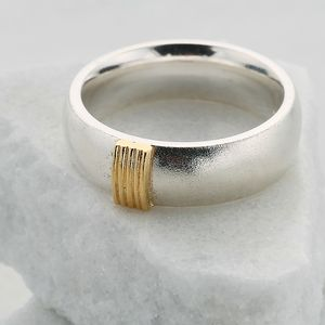 Chunky Silver Ring With Five Gold Strand Detail - rings