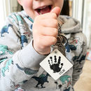 Personalised Baby Handprint Wooden Keyring