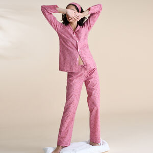 Cotton Pyjamas In Dusky Pink Print