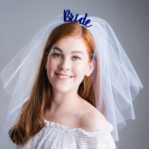 'Bride' With Wedding Veil Headband Gift - winter sale