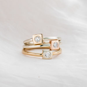 9ct Gold Square Diamond Engagement Ring - rings