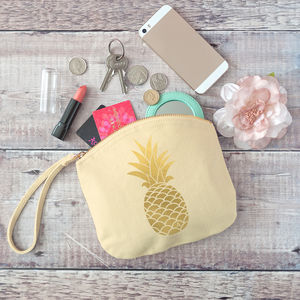 Personalised Golden Pineapple Pastel Clutch Bag