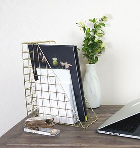 Gold Geometric Desk File Organiser - office & study