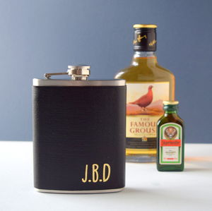 Personalised Leather Initial Hipflask - drinks connoisseur