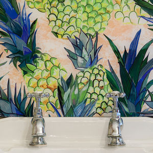 Pineapple Patterned Glass Splashback - bathroom