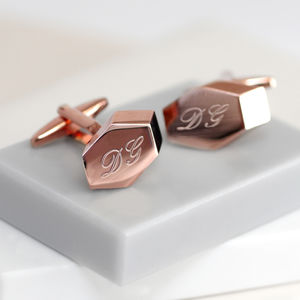 Personalised Rose Gold Geometric Cufflinks - gifts for him