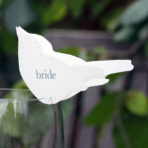 Wedding Bird Place Setting For Wine Glasses - summer sale