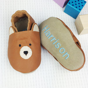 Personalised Leather Bear Baby Shoes