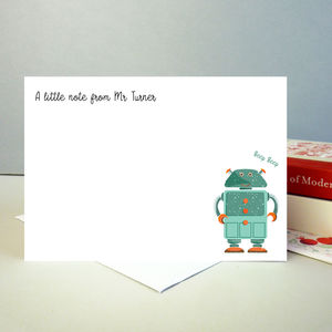 Set Of 12 Personalised Teacher Notecards With Robot
