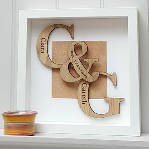 Leather Anniversary Oak Initials Artwork