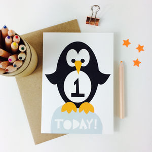 Children's Penguin First Birthday Card
