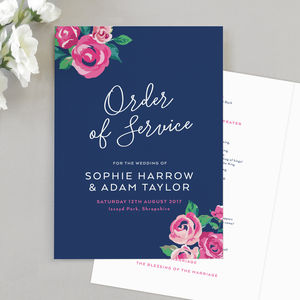 Adela Wedding Order Of Service Four Page Booklet