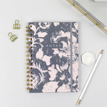 Luxe Grey Floral Hardback Notebook