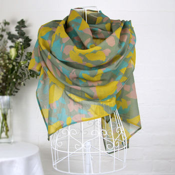 'May Leaves' 100% Wool Voile Scarf Wrap