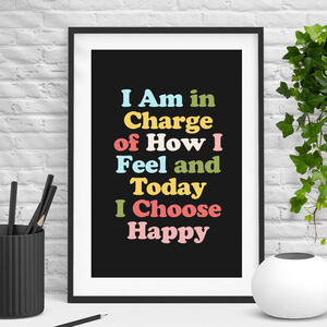 'Today I Choose Happiness' Typography Print