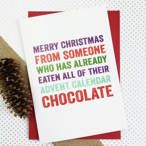 Merry Christmas Advent Chocolate Funny Card - view all sale items
