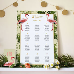 Art Deco Flamingo Wedding Seating Chart