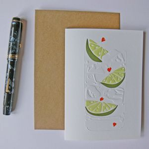 Gin And Tonic Heart Greeting Card