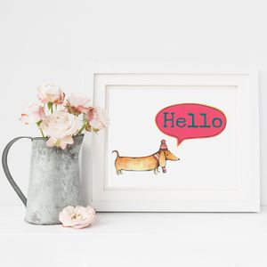 Personalised Hello Sausage Dog Print