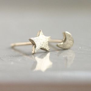 Tiny Solid Gold Star And Moon Stud Earrings