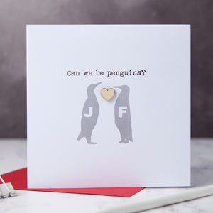 Penguin Love Couple Message Card - wedding cards