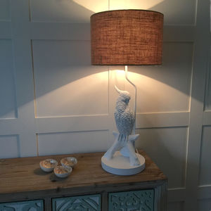 White Parrot Bird Table Lamp And Hessian Drum Shade - lighting