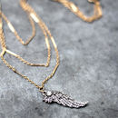 Antique Gold Angel Wing Necklace