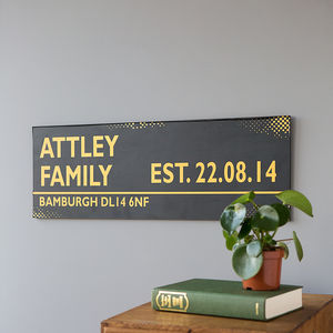 Personalised Black And Gold Street Sign - gifts for families