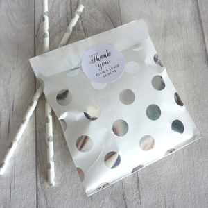 Silver Metallic Spot Wedding Party Bags