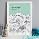 Isle of Man in colour 11-mint, font style 3, A3 size framed