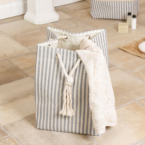 Nautical Striped Laundry Bag With Rope Drawstring