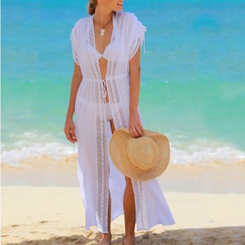 Sara Long Beach Cotton Kaftan White