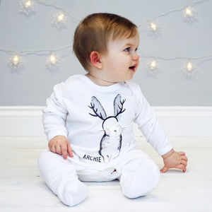 Personalised Christmas Rabbit Baby Sleepsuit - gifts for babies & children