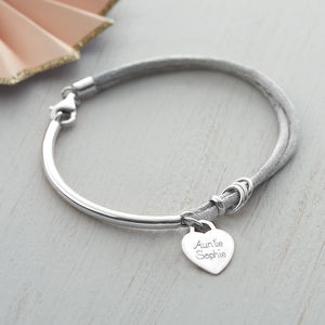 Personalised Silk And Sterling Silver Charm Bangle - for sisters