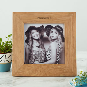 Solid Oak Personalised Square Photo Frame