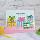 'Presents' Personalised Girls Birthday Card