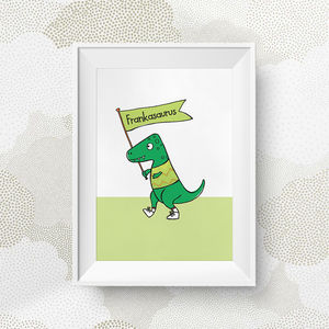 Personalised Green Dinosaur Print - whatsnew