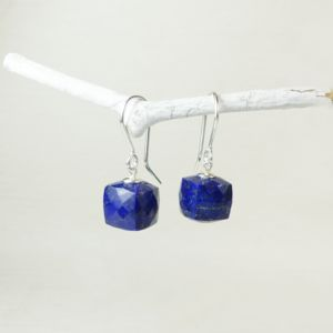 Lapis Lazuli Faceted Cube Earrings