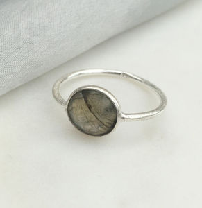 Round Silver Labradorite Ring - new in jewellery