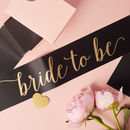 Black Satin Bride To Be Sash With Heart Pin